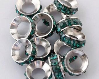 10x Deep Green Rhinestone European Beads