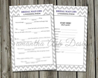 "Bridal Mad Libs PDF Instant Download- ""A Wedding Poem""- Chevron"