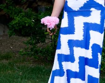 Blue and White Chevron Women's Maxi Skirt