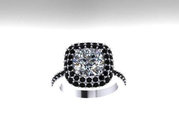 Black diamond halo engagement ring moissonite engagement ring 14k