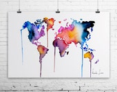 World Map Art Print - Colorful Watercolor Painting - Fine Art