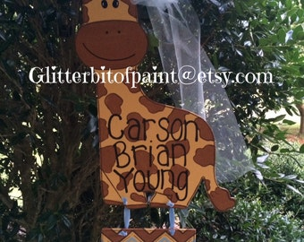 Hospital door hanger, Baby announcement, giraffe door hanger, baby boy door hanger