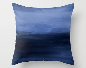 Navy Blue Throw Pillow Cover Abstract Ombre Modern Home Decor Living room bedroom accessories Cushion Decorative Pillow Cover