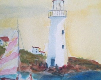 Lighthouse watercolor painting with sailboats 15x11 unmatted - beach art - lighthouse art - coastal decor - nautical decor - boats