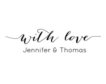 """With Love Stamp, Personalised Stamp, Wedding Favours Stamp, Gift Tags Stamp, Custom Names Stamp, Calligraphy Stamp, Labels, 2""""x0.5"""" (cts5)"""
