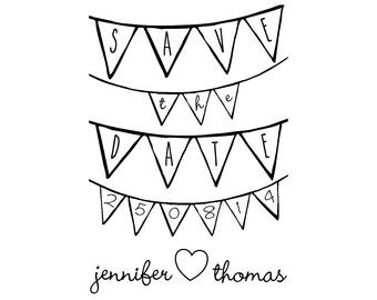"Wedding Bunting Stamp, personalised save the date, wedding stamp, wedding stationery, wedding favours, wedding garland, 2.2""x3.2"" (cstd7)"