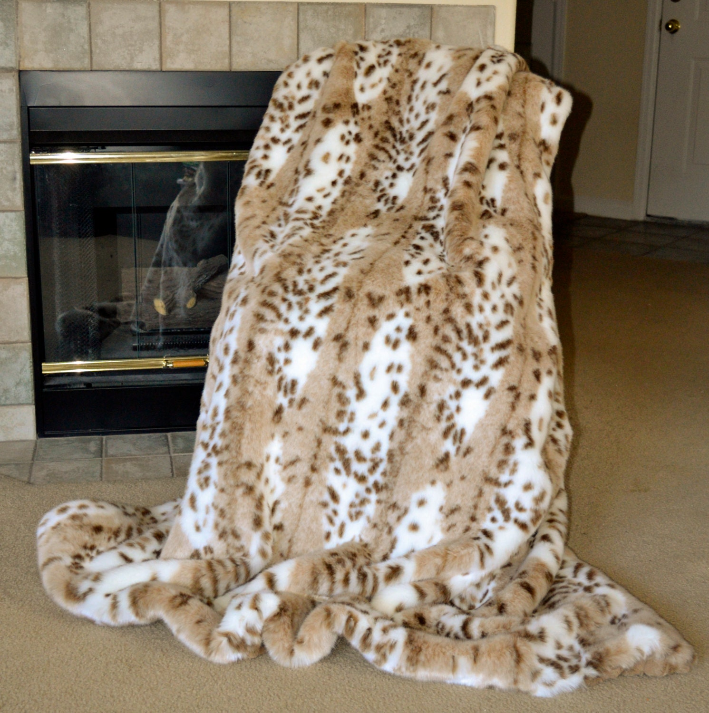 Faux FurThrow Lynx Blanket Snow Leopard Throw Animal Print