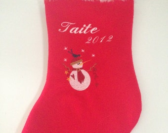 Traditional Red and White Personalised Christmas Stocking