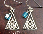 Sterling Silver Celtic Triangle and Crystal Earrings