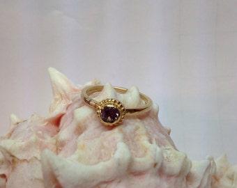 14k plum Maine tourmaline ring.