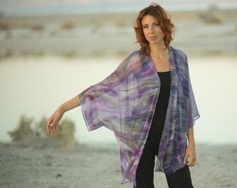 Purple and gray silk kimono jacket, lilac kimono.