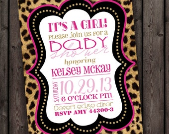 Cheetah baby shower invitation, customized wording, digital printable invitation