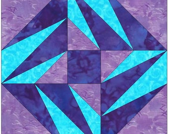 Comet Star Paper Piece Foundation Quilting Block Pattern