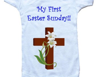 Baby One-Piece Body Suit -Personalized Gifts--My First Easter Sunday!! -White, Blue or Pink