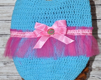 Tote - Blue and Pink - Ballerina - Tutu - Crochet Bag