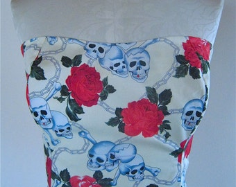 Classic Strapless Sundress in Skulls and Roses fabric, from Bird of Paradise Clothing.