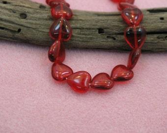 Red Heart Glass Beads string of 12 pcs (Czech)