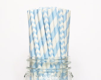 Light Blue Paper Straws, 25 Chevron and Stripe Paper Straws, Wedding Table Setting, Blue Baby Shower, Kids Birthday Party,  Made in USA