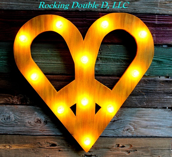 Peace Sign Bedroom Accessories: Heart Peace Sign Marquee Custom Painted One Color Or Two