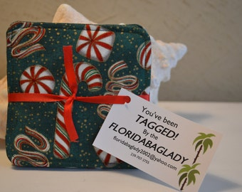 Coasters, Christmas pattern set of 4, reversible 100% cotton from Green/candy cane pattern to green small pattern on back