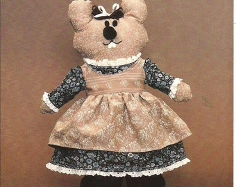 Country Mouse Vintage Fabric  Doll Pattern