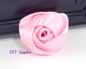 "2"" Light pink rolled rosettes - satin flower - rolled satin flower - wholesale flowers - fabric flower - rolled rose"