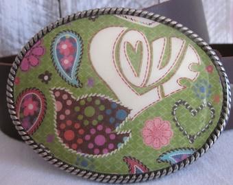 Bohemian belt buckle Love Dove Bird belt buckle Gypsy belt buckle hippie Chic belt buckle green Flower heart belt buckle Hippie Belt Buckle