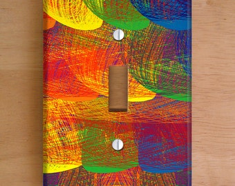 Rainbow Patch Vinyl Light Switch Cover, Outlet Cover, Wallplate, Home Decor, Rainbow, Colorful, Threads, Rainbow Pattern, Vinyl Wall Cover