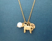 Pony, Initial, Pearl, Necklace, Gold, Jewelry, Simple, Cute, Necklace