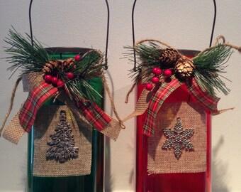 Christmas Tea Light Holder - Winter Candle Holder - Holiday Candle Holder - Tea Light/Tea Lite Holder - Glass Candle Holder -Christmas Decor