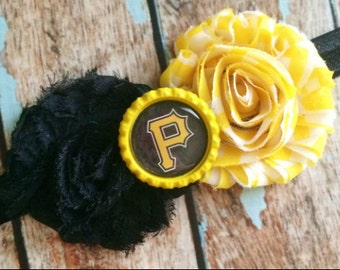 PITTSBURGH PIRATES MLB Baseball shabby flower headband Baby Little Girl Hair Bow - Photo Prop