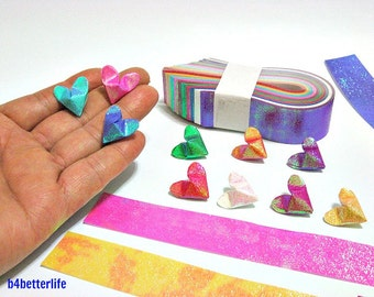 "250 Strips of Medium Size 3D Origami Hearts ""LOVE"" DIY Paper Folding Kit. (TX Paper Series). #Hpk-6."