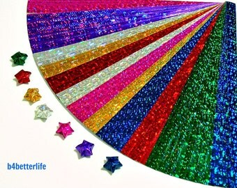 Pack of 200 Strips Tiny Lucky Stars Origami Paper Kits. 16.5cm x 0.8cm. (4D Glittering paper series). #SPK-117.