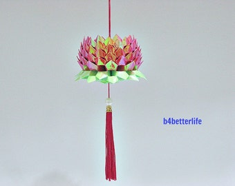 A Piece of Medium Size Red Color Origami Hanging Lotus. (AV paper series).