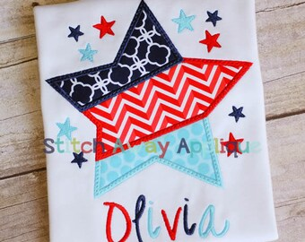 Patriotic Tri-Split Star Machine Applique Design