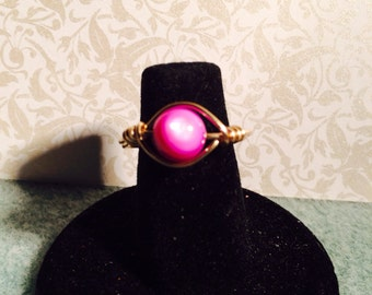 Purple shell wire wrapped ring