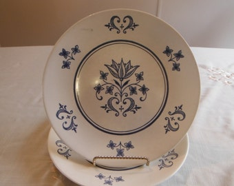 Vintage Navy Blue Ironstone Dinnerware ' Sheffield Provincial ' Dinner Plate by Homer Laughlin , Two Available