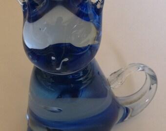 Beautiful Blue Hand Blown Glass Kitten Paperweight Figurine