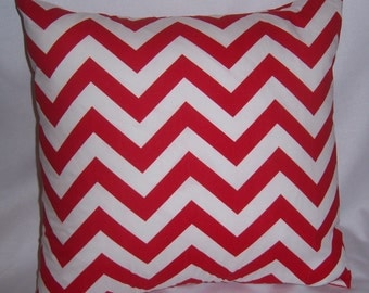 "Premier Print PILLOW COVER, 16"" x 16"", Red, White Zig Zag"