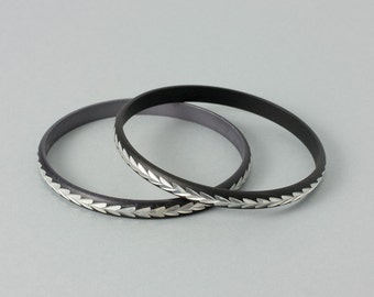 Vintage Bangle Bracelets Oxidized Black and Silver Tone   Reduced!
