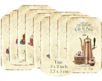 Tags Cafe de Paris Patisserie Instant Download digital collage sheet T144 digital Tag cupcake cake coffee