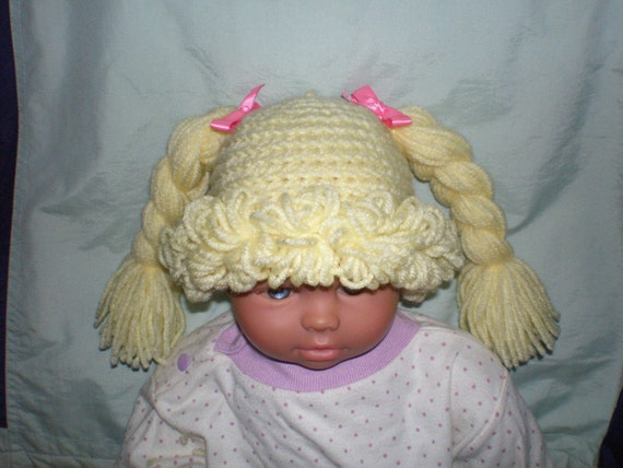 Free Crochet Baby Wig Hat Pattern : Cabbage Patch Hat / Wig Any Size Newborn to Adult Crochet