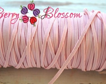 """Pale Pink skinny elastic 1 or 5 yards - 1/8"""" inch - elastic by the yard - Thick Skinny 1/8"""" - JT #16"""