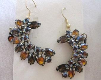 Vintage Crescent Shape Topaz Crystal Earrings