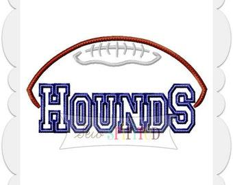 Hounds Football Applique Embroidery Design