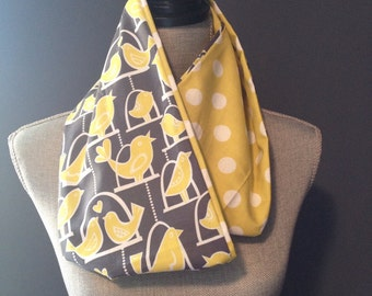 Love Birds and Citrus Polka Dot Infinity Scarf