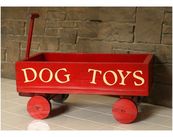 Dog toy box little red wagon wood toy box pet toy vintage look