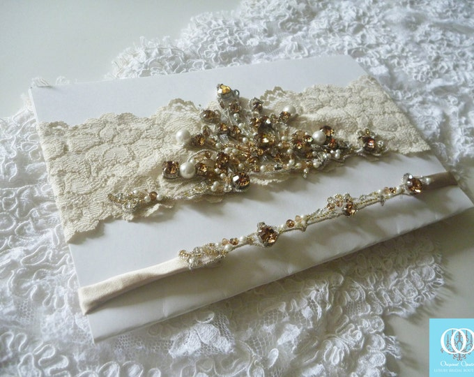 Featured listing image: Crystal Pearl Statement Garter Ivory Champagne Lace Wedding Bridal Garter