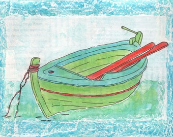 SIMPLY GREEK - Green Boat - Greek Fishing Boat - Original Small Painting - Greece - Blues-Greens-Red
