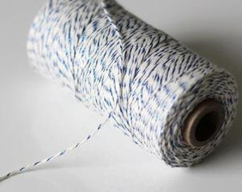 Blue Metallic & Natural Baker's Twine, String, 240 yards / 219 m. Spool, For Crafting, Divine Twine, Gift Wrapping,